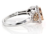 Champagne and White Diamond 10k White Gold Ring with 14k Rose Gold Accents .75ctw