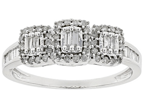 White Diamond 10k White Gold Ring .33ctw