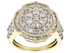 White Diamond 10k Yellow Gold Ring 1.33ctw