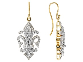 White Diamond 10K Yellow Gold Earrings 1.00ctw
