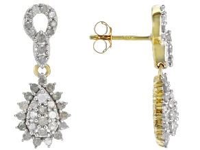 White Diamond 10k Yellow Gold Earrings .80ctw