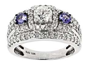 White Diamond and Tanzanite 10K White Gold Ring 1.95ctw