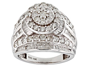 White Diamond 10k White Gold Ring 2.95ctw