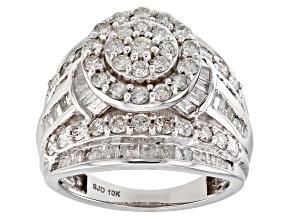 White Diamond 10k White Gold Ring 2.95ctw