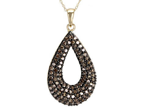 Champagne Diamond 10k Yellow Gold Pendant 1.00ctw