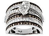 Champagne and White Diamond 10k White Gold Ring 2.00ctw