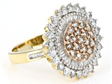 Champagne and White Diamond 10k Yellow Gold Ring 1.50ctw