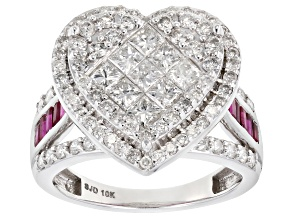 White Diamond and Ruby 10K White Gold Ring 2.70ctw