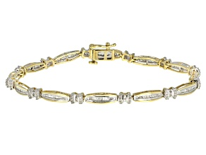 White Diamond 10k Yellow Gold Bracelet 1.00ctw