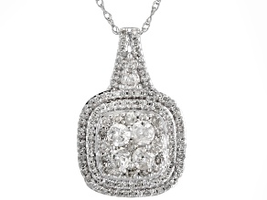 White Diamond 10k White Gold Pendant With Chain 1.00ctw