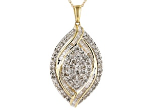 White Diamond 10k Yellow Gold Pendant 1.50ctw