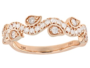 White Diamond 10k Rose Gold Ring 0.38ctw