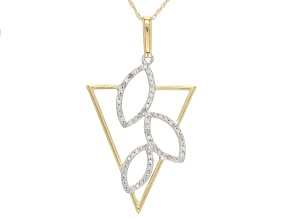 White Diamond 10k Two-Tone Gold Pendant 0.25ctw