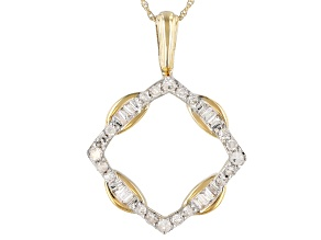 White Diamond 10k Yellow Gold Pendant 0.40ctw