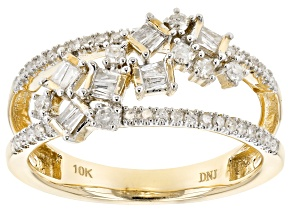 White Diamond 10k Yellow Gold Ring 0.38ctw