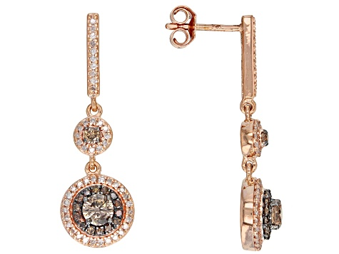ea861a8bc4c78 Champagne and White Diamond 10k Rose Gold Earrings 1.00ctw