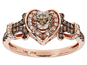 Champagne And White Diamond 14k Rose Gold Heart Ring 1.00ctw