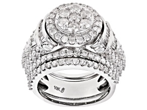 White Diamond 10k White Gold Ring With Bands 3.00ctw