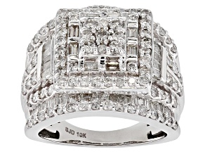 White Diamond 10k White Gold Ring 2.90ctw