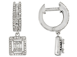 White Diamond 10k White Gold Earrings 0.70ctw