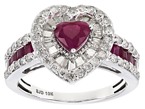 White Diamond And Red Burmese Ruby 10k White Gold Ring 1.70ctw