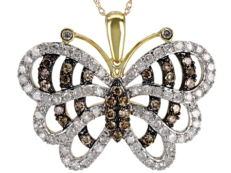 Champagne And White Diamond 10k Yellow Gold Pendant 1.50ctw