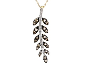 Champagne And White Diamond 10k Yellow Gold Pendant 0.75ctw