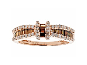 Red And White Diamond 10k Rose Gold Band Ring 0.75ctw