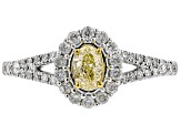 Natural Yellow And White Diamond 14k Gold Two-Tone Ring 0.75ctw