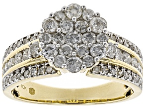 White Diamond 10K Yellow Gold Ring 1.44ctw