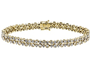 White Diamond 10K Yellow Gold Bracelet 5.20ctw