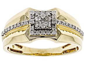 White Diamond 10K Yellow Gold Mens Ring .40ctw