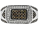 Champagne And White Gold Gents Ring 1.05ctw