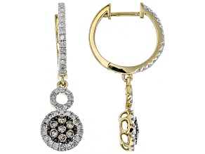 Champagne And White Diamond 10k Yellow Gold Earrings 0.85ctw