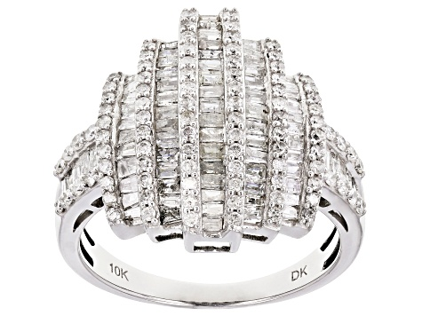 White Diamond 10K White Gold Ring 1.46ctw