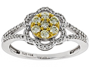 Natural Yellow And White Diamond 10K White Gold Ring 0.45ctw