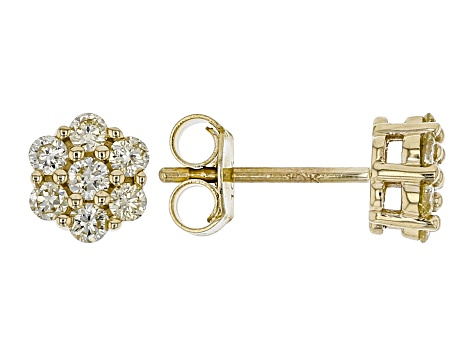 7424591941072 Natural Yellow Diamond 10K Yellow Gold Earrings 0.45ctw