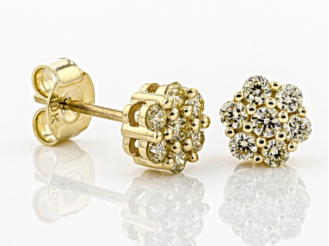 Natural Yellow Diamond 10K Yellow Gold Earrings 0.45ctw