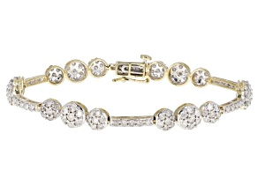 White Diamond 10K Yellow Gold Bracelet 5.00ctw