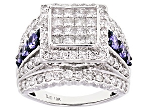White Diamond And Blue Tanzanite 10K White Gold Ring 2.75ctw