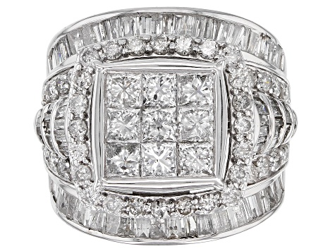White Diamond 10K White Gold Ring 3.85ctw