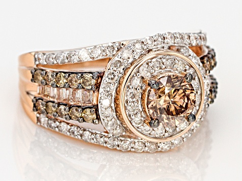 Champagne And White Diamond 10K Rose Gold Ring 2.20ctw