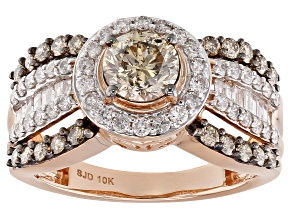 Champagne And White Diamond 10K Rose Gold Ring 1.95ctw