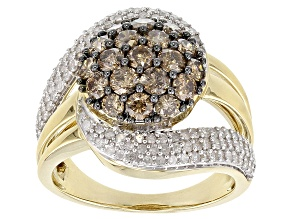 Champagne And White Diamond 10K Yellow Gold Ring 2.00ctw