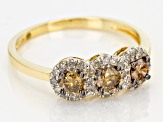 Champagne And White Diamond 10K Yellow Gold Ring 0.68ctw