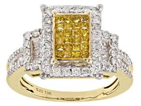 Yellow And White Diamond 10k Yellow Gold Ring 1.30ctw