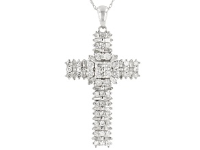White Diamond 10k White Gold Cross Pendant With Chain 1.55ctw