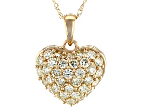 Yellow Diamond 10k Yellow Gold Heart Pendant With Chain 0.60ctw