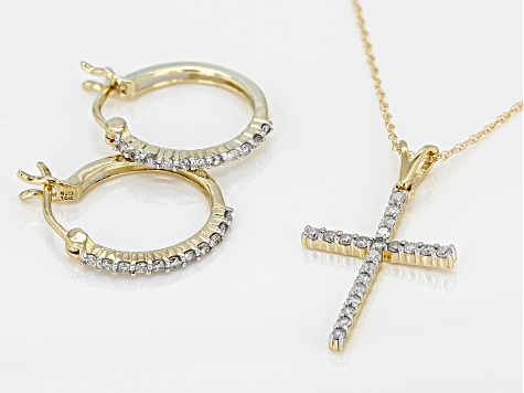 White Diamond 10k Yellow Gold Hoop Earrings and Cross Pendant With Chain 0.45ctw
