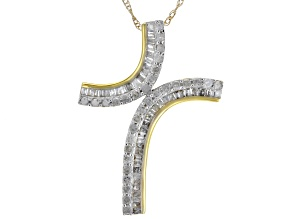 White Diamond 10k Yellow Gold Cross Pendant With Chain 0.50ctw
